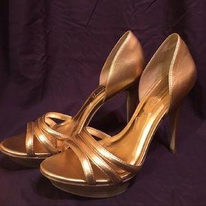 BCBG gold heels